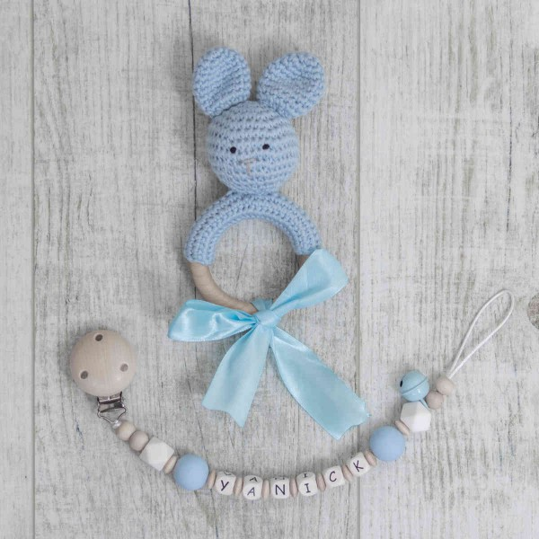 Pacifier Chain And Crochet Bunny, Blue