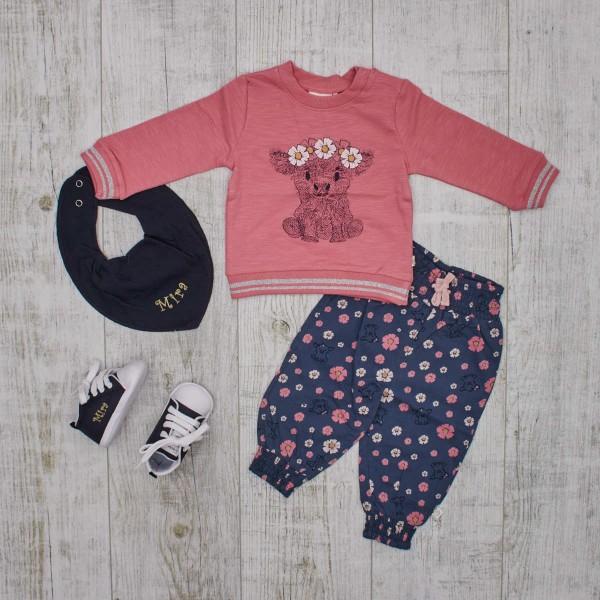 Set Sweatshirt & Flowerpants with Shoes and Bib