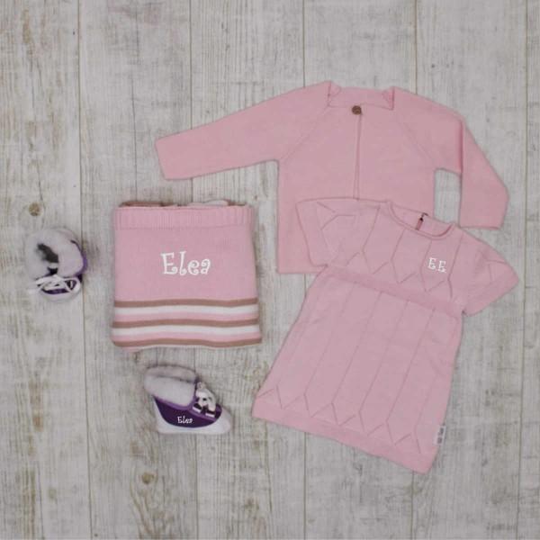"""Coffret tricot """"Complet"""" pour bébé, ensemble, couverture et bottines, rose"""