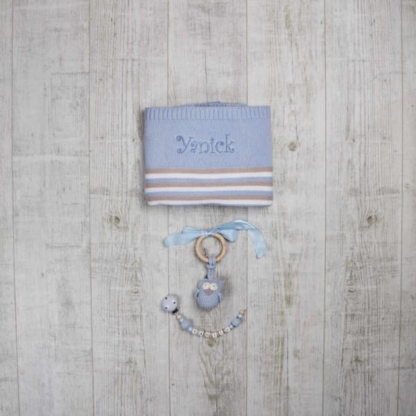 """Coffret - Couverture, chaîne à lolette et anneau de dentition """"Hibou"""" - Bleu"""