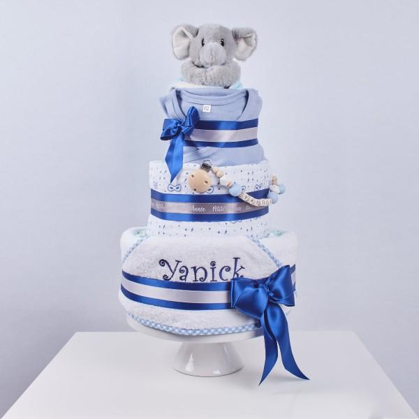 Gâteau de couches Large, le temps du bain - Eléphant bleu