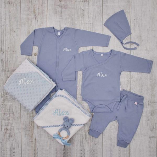 Baby-Set«Luxus», Kleidung, Rassel, Decke & Kapuzentuch, Blau