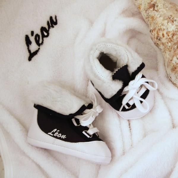 Baby-Winterstiefel und Decke - Marineblau