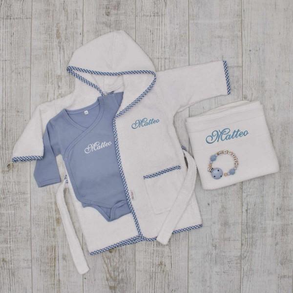 Baby-Set«Luxus», Kleidung, Nuggikette, Decke & Bademantel, Blau