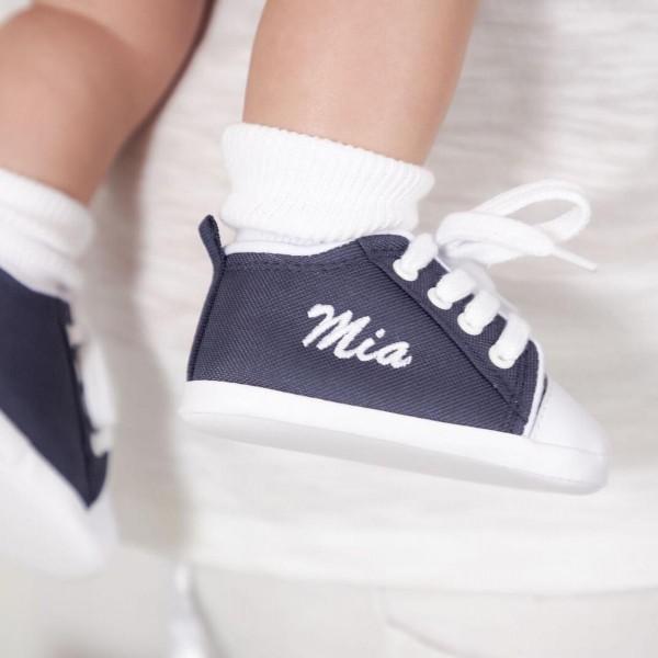 Personalisierte marineblaue Babyschuhe