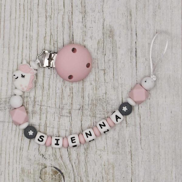 Nuggikette aus Silikon mit Einhorn, rosa