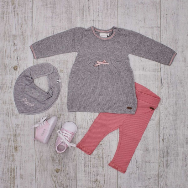 Set knitted dress, leggings and shoes