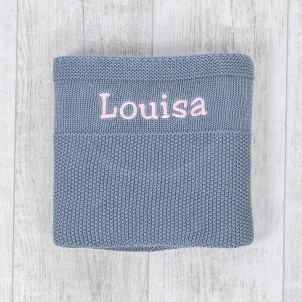 Couverture en tricot, gris