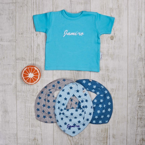 Colored set with t-shirt, bite and bath toys & scarves, turquoise
