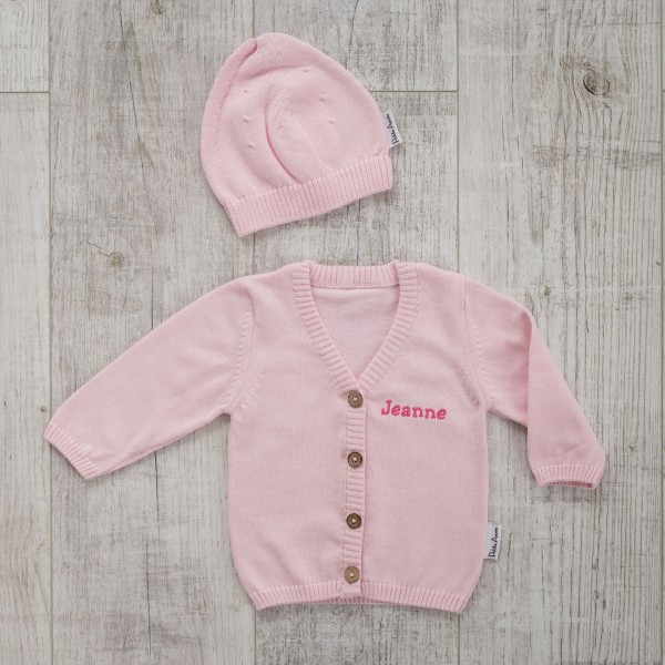 Cardigan and hat, Pink