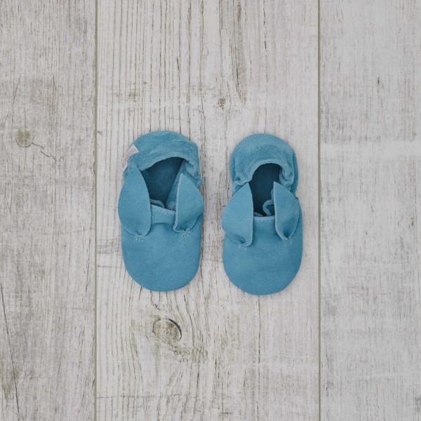 Chaussons en cuir, bleux - Oreilles de lapin