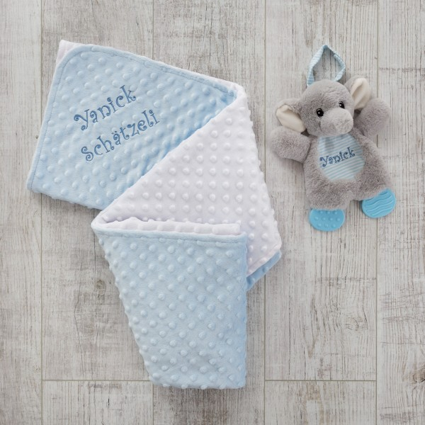 Beissspielzeug Elefant und Minky Decke