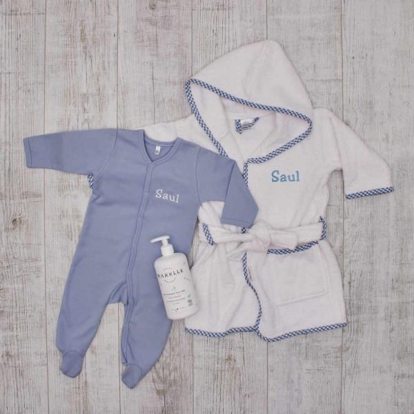 """Coffret """"Bien être"""" pour le bain, peignoir, pyjama & soin bio pour bébé - Bleu"""