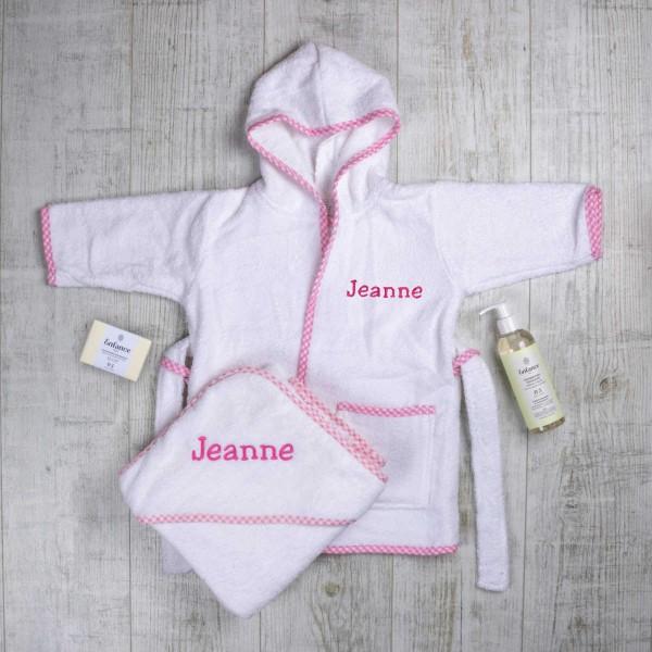Ensemble Bain Luxe Complet - Peignoir et linge à capuche, savon et shampoing naturel 0-3 ans, rose