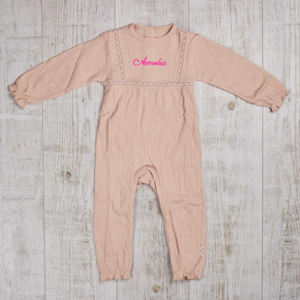 Onesie Chleo with lace, Blush