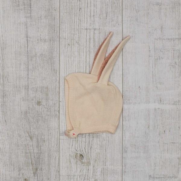 Peach Sparkle Bunny Baby Bonnet