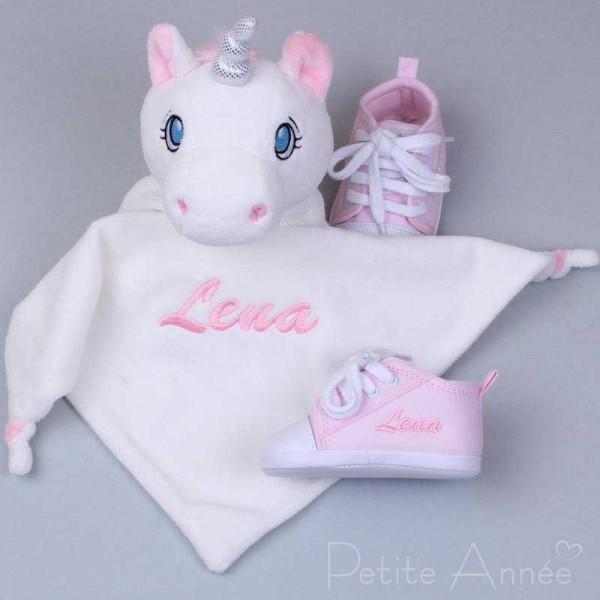 Schmusetuch Einhorn & rosa Babyschuhe