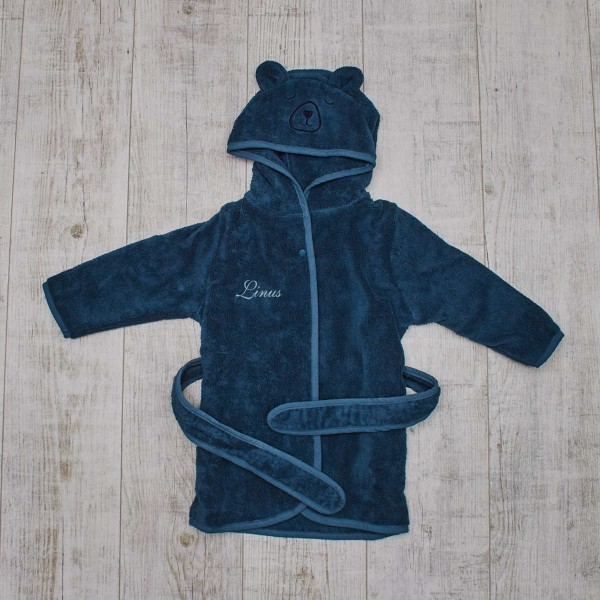 Bathrobe bear, organic - dark blue