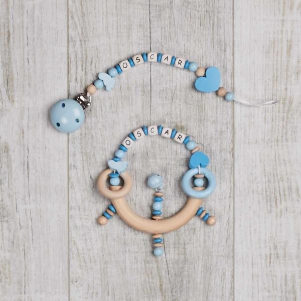 2-teiliges Set, Nuggikette und Rassel mit Füsschen und Herz, blau