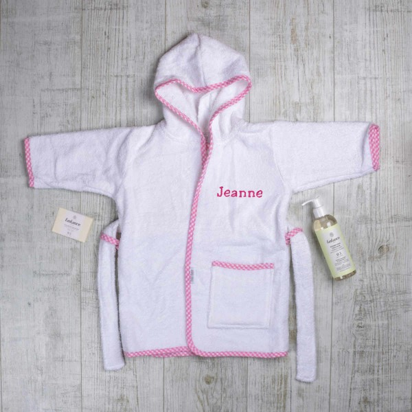 Lovely and Clean Baby Set with bathrobe, natural soap and shampoo, pink