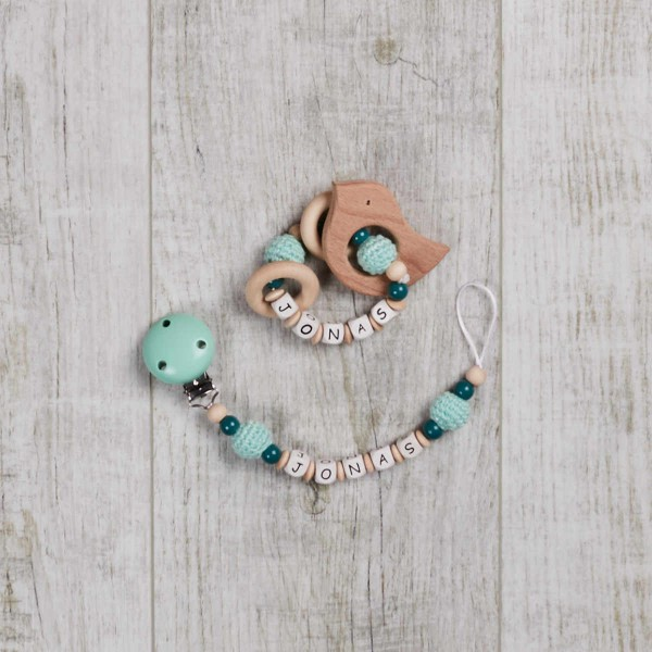 2-piece set, dummy chain and gripper with crochet bead, mint