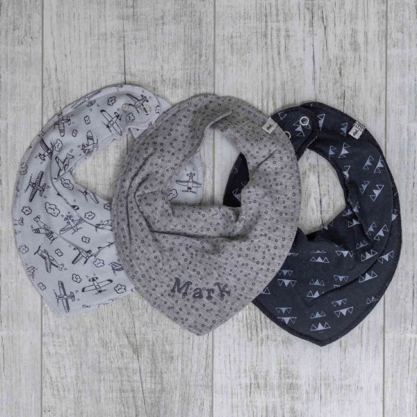 Neckcloth 3-Set, Grey plane