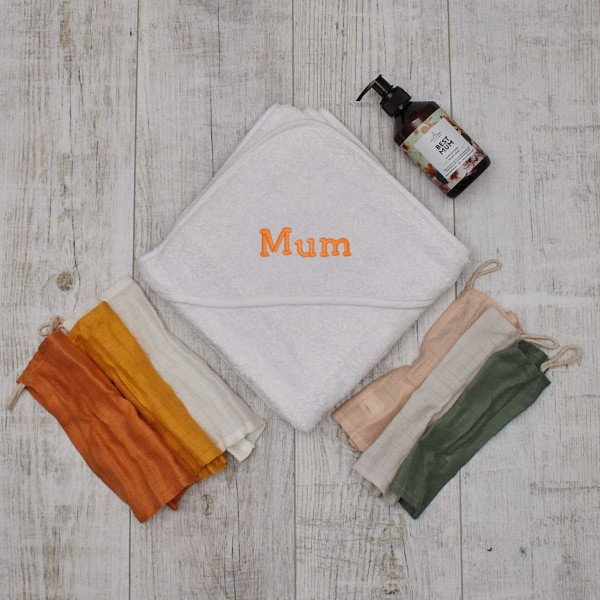 Best Mum Set with Hooded Towel White, Washcloth and Soap
