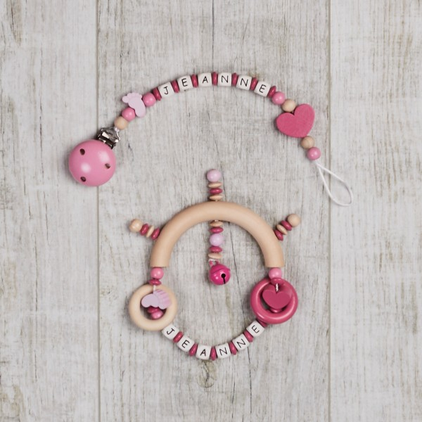 2-piece set, dummy chain and wooden gripper with feet and heart, pink