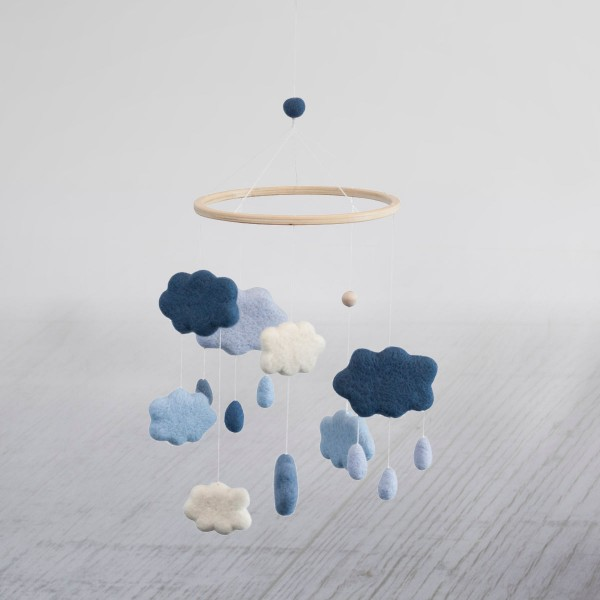 Wolkenmobile, Filz, Blau