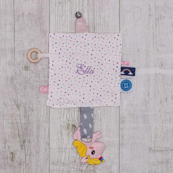 Crinkle Cloth little hearts & unicorn