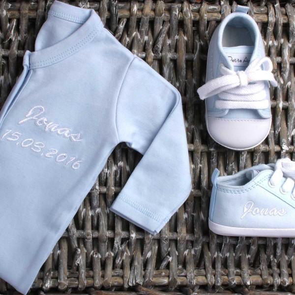 Strampler & Babyschuhe Set - Blau
