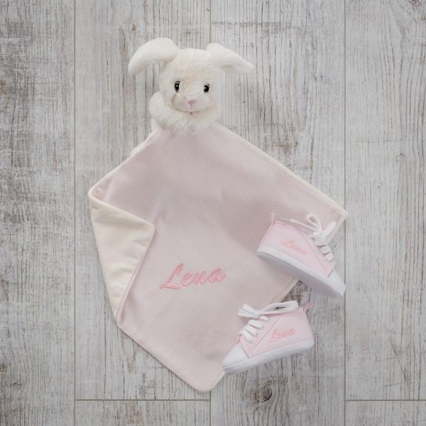 Schmusetuch & Babyschuhe, Kaninchen und Rosa