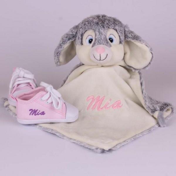 Schmusetuch Kaninchen & Rosa Babyschuhe