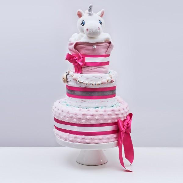 Gâteau de couches Large, le temps de la sieste - Licorne et plumes rose
