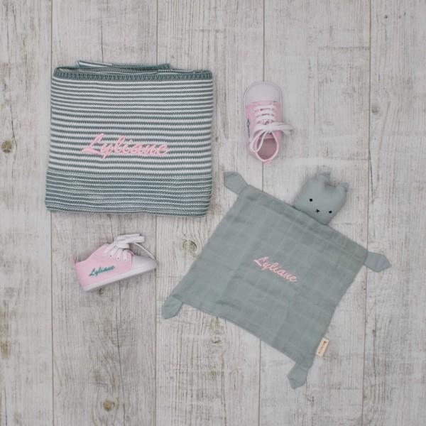 Baby-Set mit Strickdecke, Schmusetuch Katze & Schuhe, Mint & Rosa