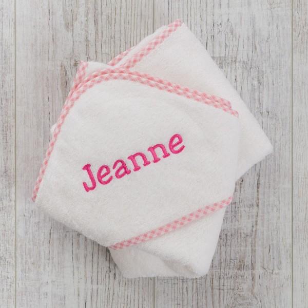 Hooded towel, Gingham Pink