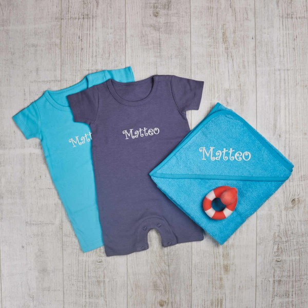 Summer rompers, towel & bath toy set, turquoise & navy