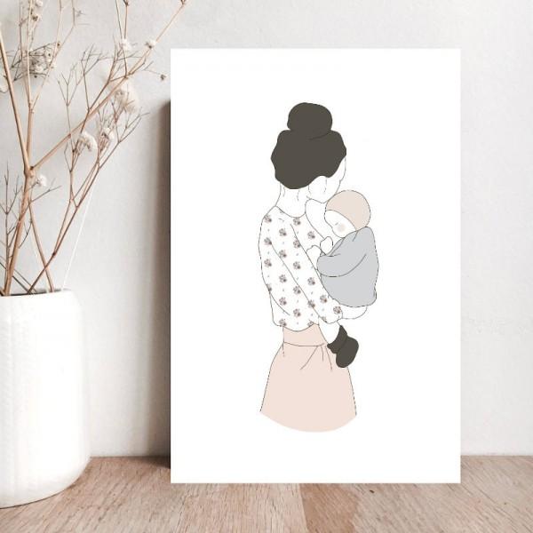 """Glückwunschkarte zur Geburt """"Maman d'Amour"""""""
