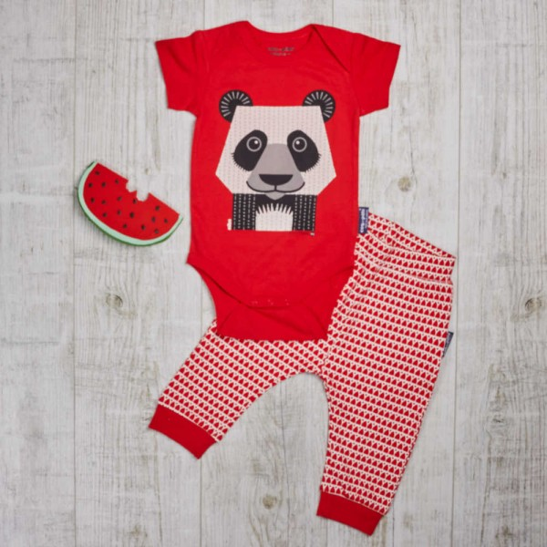 Wild play set with short-arm body and trousers, panda