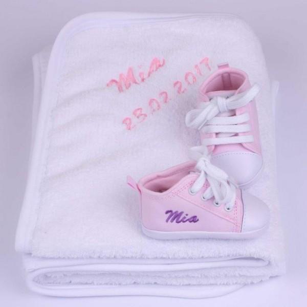Fleecedecke & Babyschuhe Geschenkset - Rosa