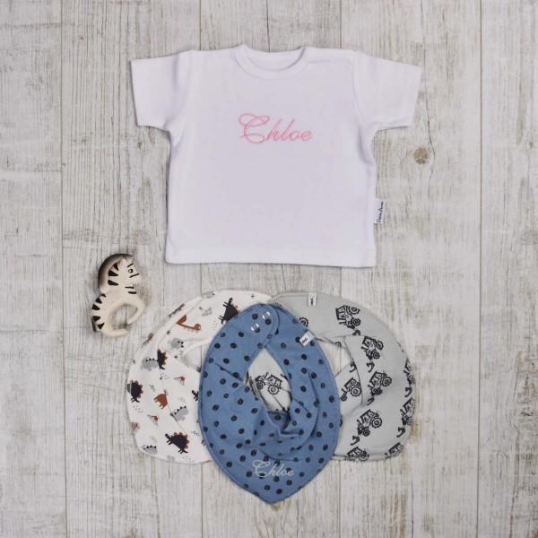 farbiges Set mit T-Shirt, Beiss- und Badespielzeug & Halstücher, Weiss