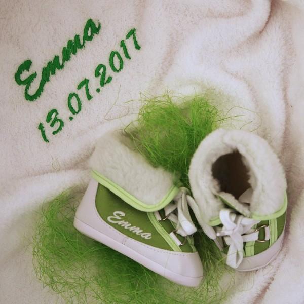 Baby-Winterstiefel und Decke- Grün
