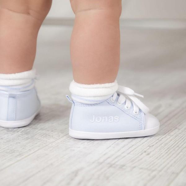Personalisierte blaue Babyschuhe