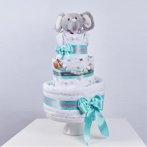 Diaper Cake Large, nap time - Elefant & stars mint