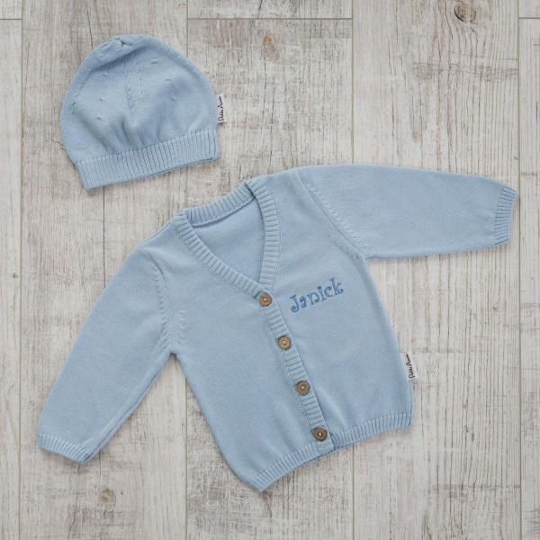 Cardigan and hat, Blue