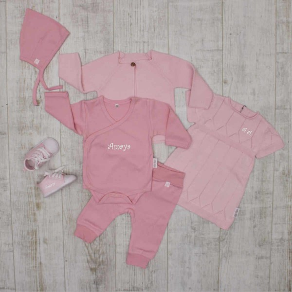 """""""Complete"""" knitted set - total outfit with shoes, pink"""