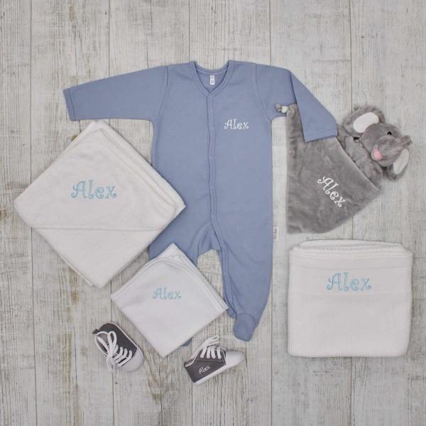 KomplettesBaby-Set«Luxus», Elefant, Grau & Blau