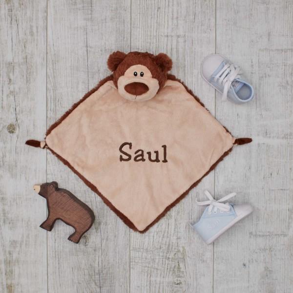 Baby-Set Bär mit Holztier, Schmusetuch & Schuhe