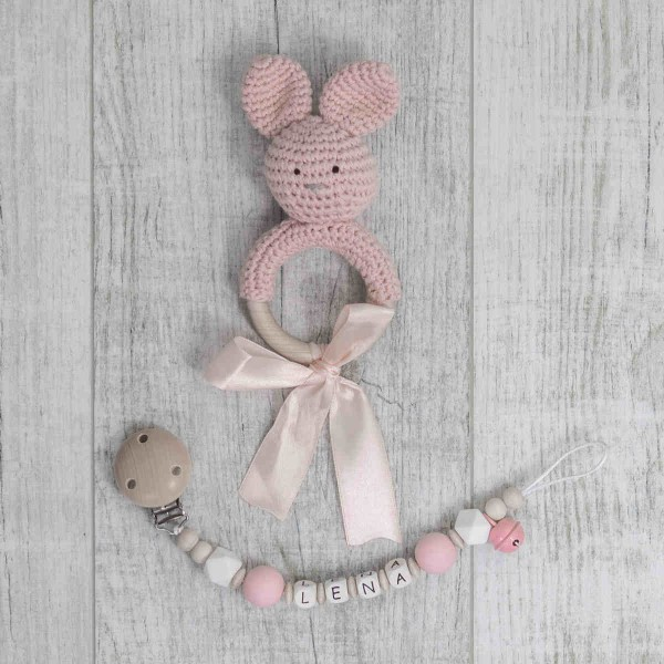Pacifier Chain And Crochet Bunny, Pink