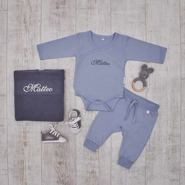 Complet authentic Babyset, grey & blue